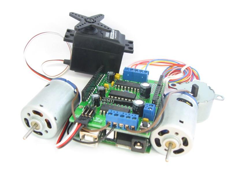 четырёх двигателей постоянного тока (ДПТ - DC motors). двух шаговых двигателей униполярных или...